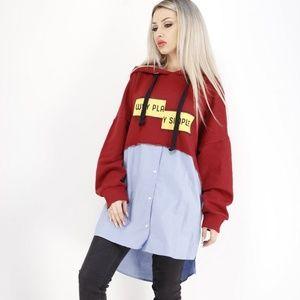 """Zara Woman """"Why Play Simple"""" Hoodie Sweatshirt L"""